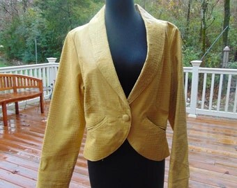 Vintage 1980's Yellow Leather METROStyle Jacket, Size 12, Crop Style, FREE SHIPPING