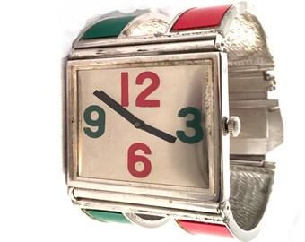Vintage Bill Blass Bracelet Watch, Manual Wind Ladies Watch, Retro, Red, Green, Silver, Wide, Chunky