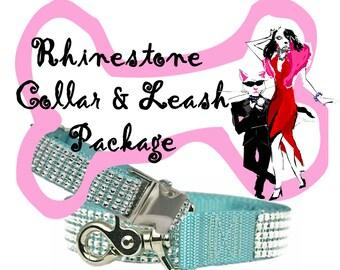 Rhinestone Dog Collar + Rhinestone Leash Package
