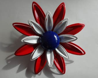 Vintage 60's Large Red, White and Blue Enamel Flower Statement Brooch / Pin