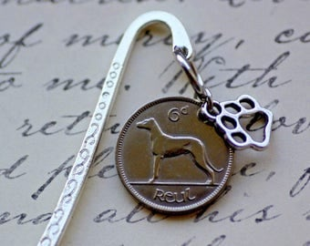 Genuine Coin Bookmark, 1934 Ireland,  6 Pence with Wolfhound, Dog Coin,  handmade
