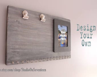 Horizontal Gray Running Board with Photo Frame - Weathered Gray Horizontal Runner's Bib and Medal Holder -Cottage Chic - Picture Frame Board