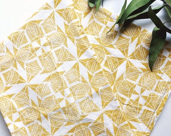 Aztec Sun Tea Towel - Patterned Kitchen Towel - Hand Block Printed Geometric Towel