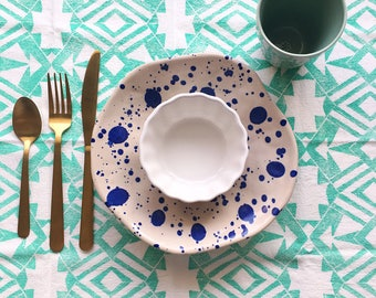 Dinner Mint Napkin Set - Geometric Hand Printed Napkins - Mint Reusable Cloth Napkins