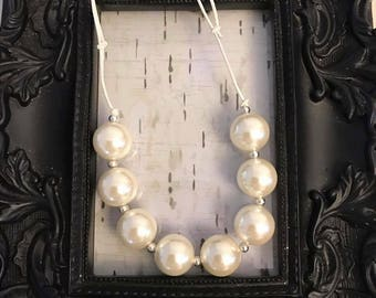 Pearl bubblegum chunky adjustable necklace