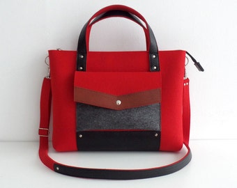 Red Gray Brown Black Wool Felt Genuine Leather Handbag Bag