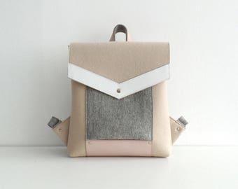 Beige Gray White Pink Wool Felt Genuine Leather Backpack