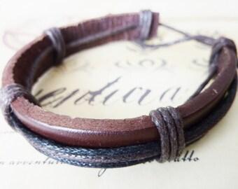 Leather bracelet Friendship Surfer brown black Leather Bracelet Mens Jewelry