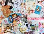 Baby Girl Inspiration Kit*Pink Baby Girl Paper Ephemera Pack*Scrapbooking Collage Journals Cards Supplies