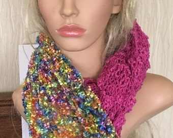 Ooak unique womens designer lace effect hand knit/crocheted ,pink,multicolour cowl,scarf,infinity neckwarmer