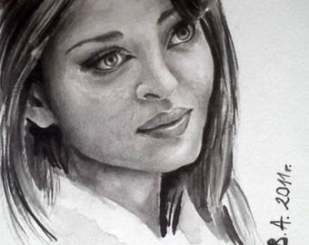 Ink Portrait Aishwarya Rai Painting Small Wall Art Monochrome Black Ink Art Woman Portrait Drawing Art Gift Idea Illustration Ink Art