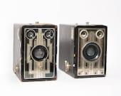 Kodak Brownie Junior Target Six - 16 Camera Set of 2 1940s Art Deco Box Camera Photography Decor