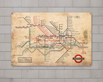 London Underground Vintage METAL Map FREE SHIPPING