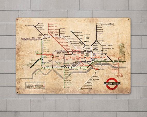 London Underground Vintage METAL Map FREE SHIPPING