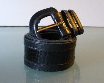 Lario Alligator Embossed Leather Belt Made in Italy