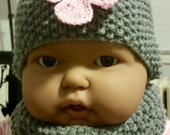 Baby Hat & Cowl, Hand Knit, 0-3 Mths