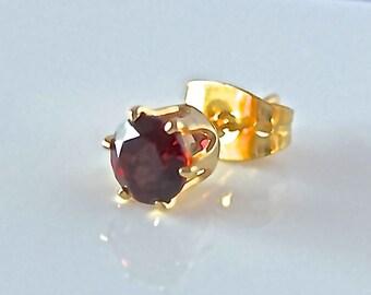 Almandine Garnet AA-grade Gold Earrings