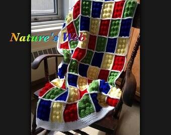 Crochet Lego Blanket - Kids Throw - Crochet Lego Afghan - Colorful Crochet Blanket -Lego Baby Blanket- Crochet Lap Blanket - Lego Throw