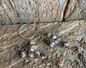 Leopardskin Jasper Earrings, Natural Stone Earrings, Cascade Earrings, Sterling Silver Brown Earrings, Earthy Jewelry, Jasper Jewelry
