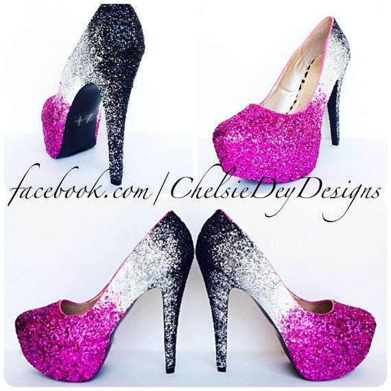 Fuschia Low Heel Wedding Shoes: Glitter High Heels Hot Pink Fuschia Magenta White Black