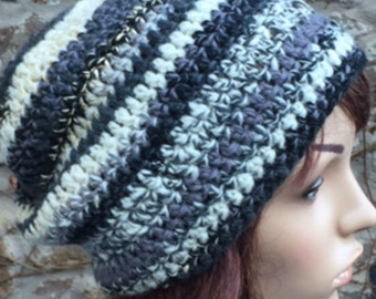 Black and White Crochet Slouchy Hat Hand Spun Yarn