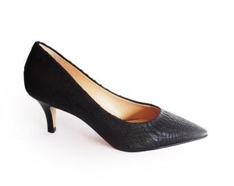 Sale black pumps heels, Womens black heels, Leather pumps, High heel shoes, Pumps shoes, Bridesmaid shoes, Leather shoes, Black snake heels