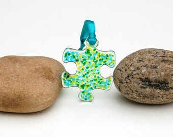 Fused Glass Puzzle Piece Ornament, Autism Awareness Ornament