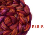 FIREBIRD- blended tops- sparkle-pinks-orange-Merino-Mulberry silk-100g/3.5oz