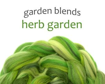 Blended Merino roving - spinning fiber - 100g/3.5oz - greens - Garden Blends - HERB GARDEN