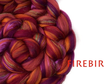 FIREBIRD- blended roving - sparkle-pinks-orange-Merino-Mulberry silk-100g/3.5oz