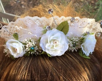 Bridal Comb Made White Roses, Lace And Rhinestones