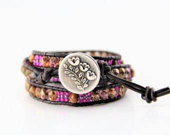 Black Leather Wrap Bracelet with Glass Beads and a Silver Flower Button
