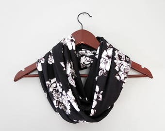 Dark Brown and White Floral Jersey Knit Infinity Scarf