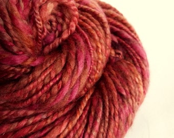 Pink chunky wool, blue faced leicester yarn, knitting yarn / wool, thick bulky yarn, dusky pink / faded red colour