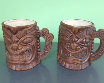 Vintage Pair of Ceramic Tiki Mugs with Handles