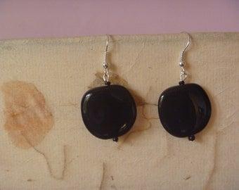 black apple shaped dangle earrings, ecofriendly earrings
