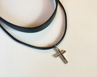 Silver Cross Choker Necklace, Charm Leather Cord Necklace, Antique Silver Cross Choker, Religious Jewelry, Cross Jewelry, Black Leather Cord