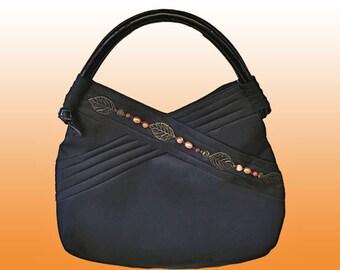 Black Nylon Upcycled Shoulderbag Modern Chic OOAK Artsy Handbag Purse Tote