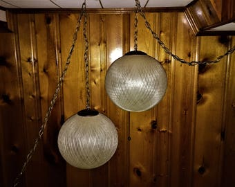 Awesome SPUN FIBER Swag LAMP Buy just one or both 1960s Mid Century Modern