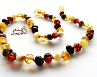 Genuine Baltic Amber Teething Necklace - Multicoloured Amber  Beads - Natural Jewelry - Screw or Safety clasp - Choose Your Length, K-19