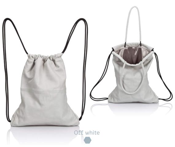 White Backpack leather backpack purse SALE multi way leather