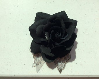 Black Silk Flower Pin