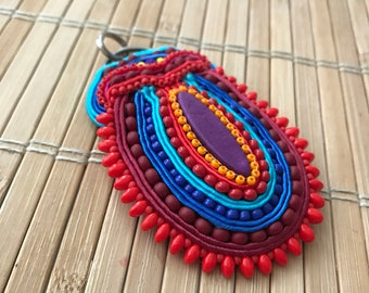 Handmade soutache pendant. Vegan friendly. Colorful. Turquoise, orange, red, blue. Vegan gift. Jewellery. Unique gift.