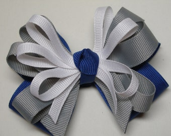 Royal Blue Grey White UNIFORM Hair Bow Accessory Boutique Toddler Girl Team Spirit Wear