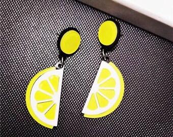 Vintage lemon moschino sense of humor earrings