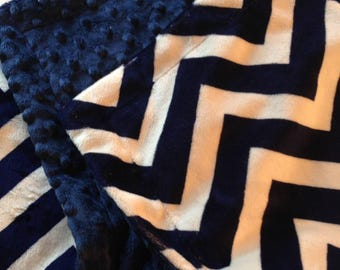 Blue Chevron Adult Minky Blanket    Navy Chevron Bedding  Minky Adult Blanket  Couch Throw Size 50 x 60
