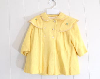 Vintage 70s Little Girl Toddler Yellow Dress and Hat Set, Toddler Jacket Easter