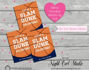 Valentine's Day Cards, Children's Basketball Valentine Cards, Personalized, Classroom Cards, Printable