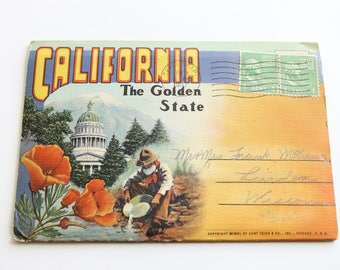 Vintage California Golden State Postcard Book, 1947, Vintage Graphics, Curt Teich Co, Fold out Booklet, Circa 1940's