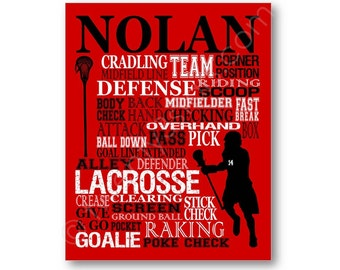 Lacrosse Typography Art Canvas or Print, Boy's Room Art, Choose Any Colors, Personalized Gift for any Lacrosse Player or Goalie